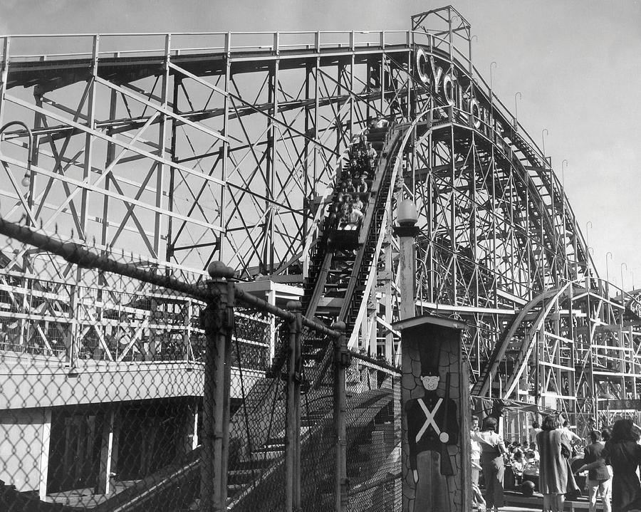 New York Photograph - Coney Island - Cyclone Roller Coaster by MMG Archives