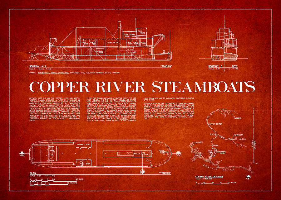 Copper River Drawing - Copper River Steamboats Blueprint by Aged Pixel