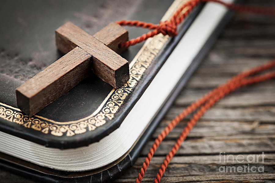 Cross On Bible Photograph  - Cross On Bible Fine Art Print