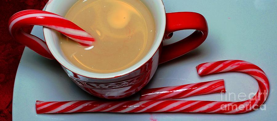 Cup Of Christmas Cheer - Candy Cane - Candy -  Irish Cream Liquor Photograph