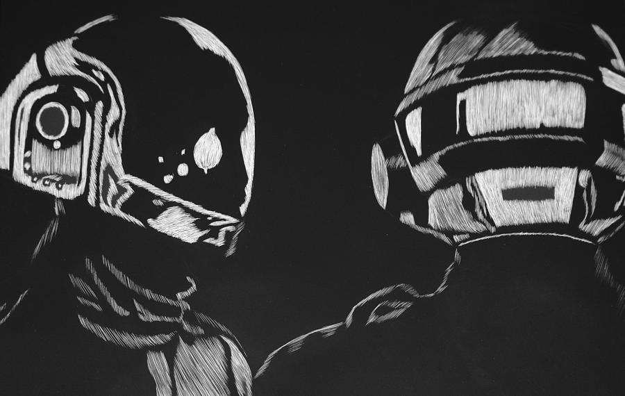 Daft Drawing - Daft Punk by Trevor Garner