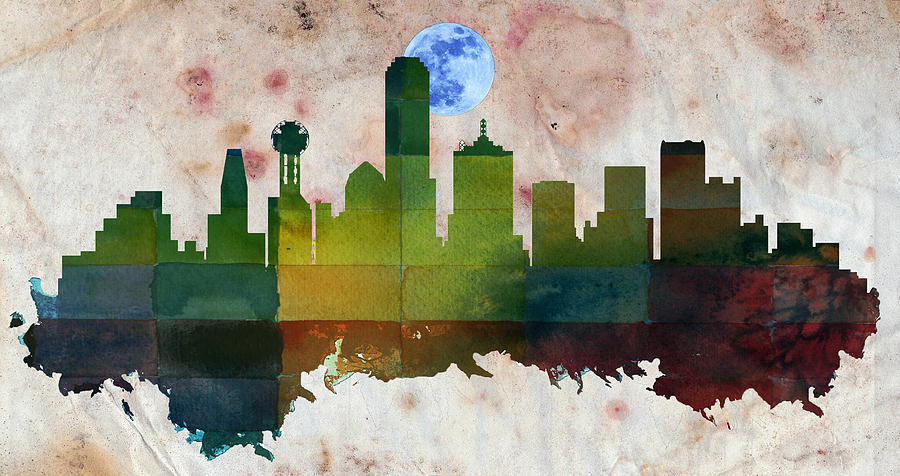 Dallas city skylines silhouette painting by motionage designs for Dallas mural artists