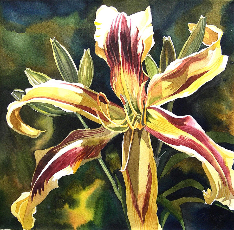 Day Lily Painting - Day Lily by Alfred Ng