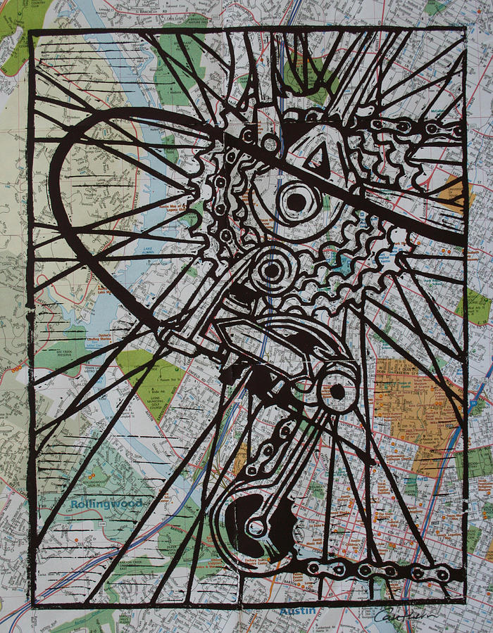 Printmaking Drawing - Derailluer On Map by William Cauthern