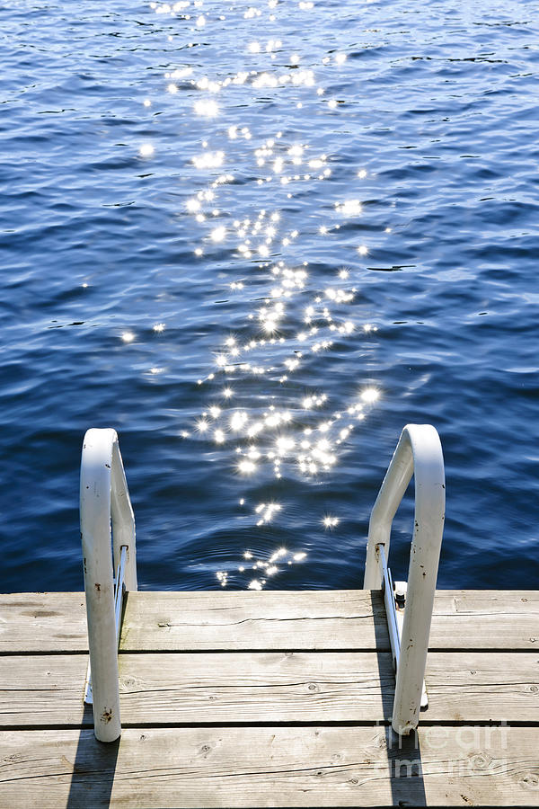 Dock On Summer Lake With Sparkling Water Photograph