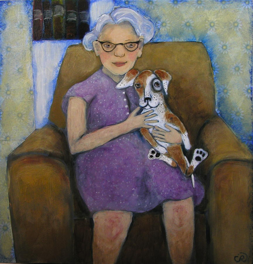 Woman And Dog Painting - Doris And Maisie by Cindy Riccardelli