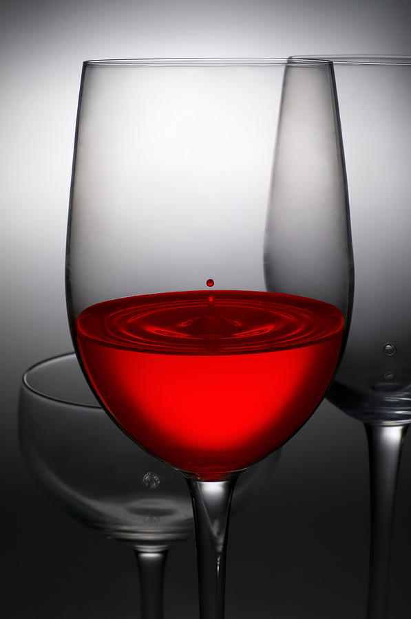 Abstract Photograph - Drops Of Wine In Wine Glasses by Setsiri Silapasuwanchai