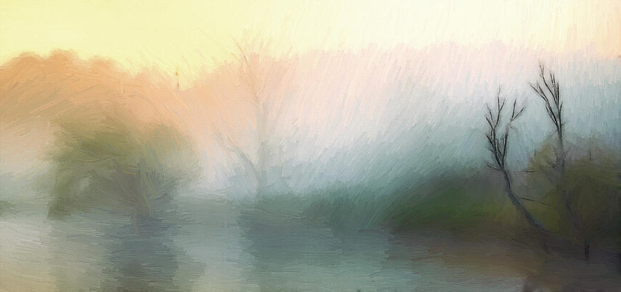 Morning Mist Misty Fog River Landscape Painting Tree Trees Forest Water Nature Expressionism Sunrise Sunlight  Painting - Early In The Morning by Steve K