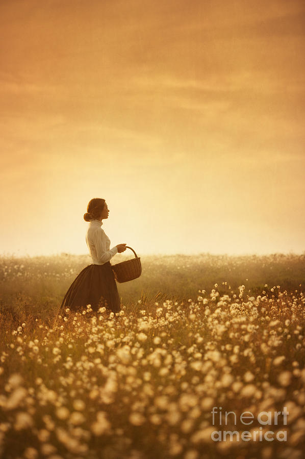 Edwardian Woman In A Meadow At Sunset Photograph