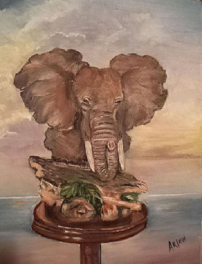 Elephant Trophy Painting