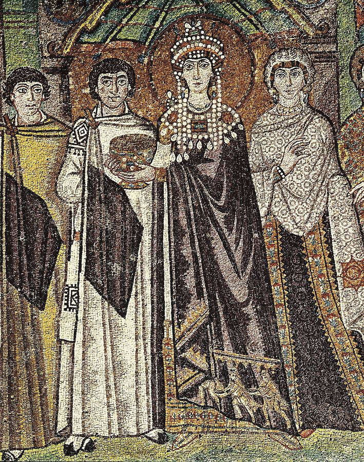 Vertical Photograph - Empress Theodora With Her Court. Ca by Everett