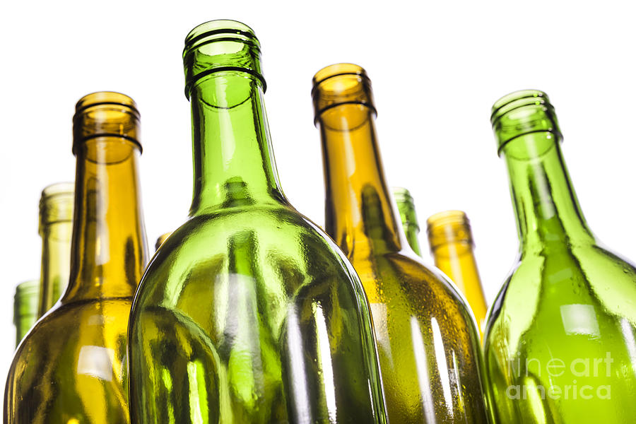 Empty Glass Wine Bottles Photograph  - Empty Glass Wine Bottles Fine Art Print