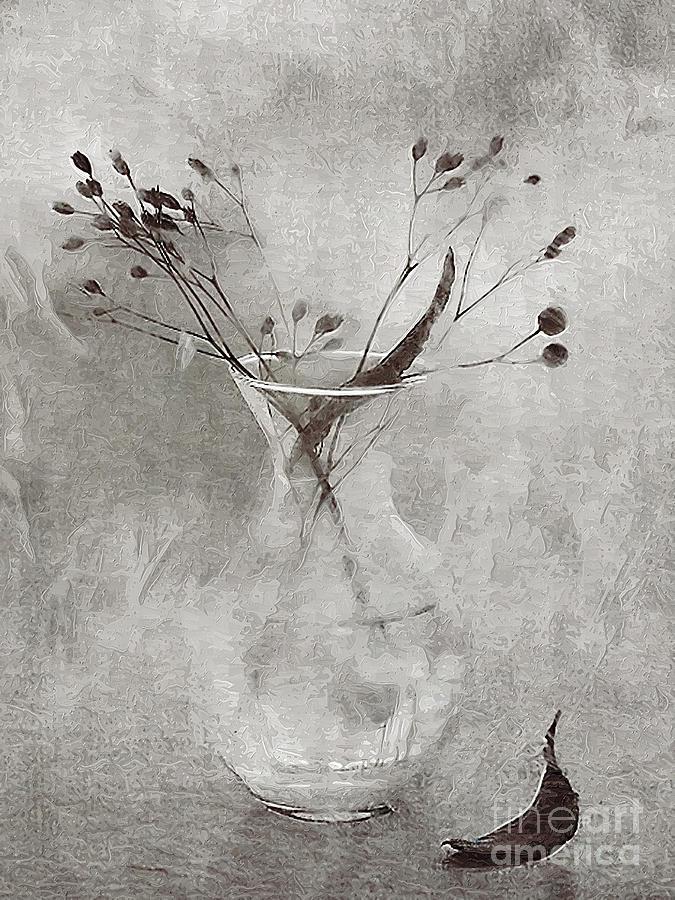 3d Black White Still Life art Fallen Leaf