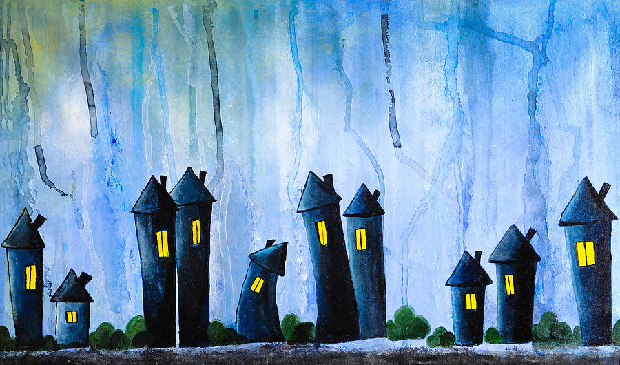 Fantasy Art - Night Lights Painting  - Fantasy Art - Night Lights Fine Art Print