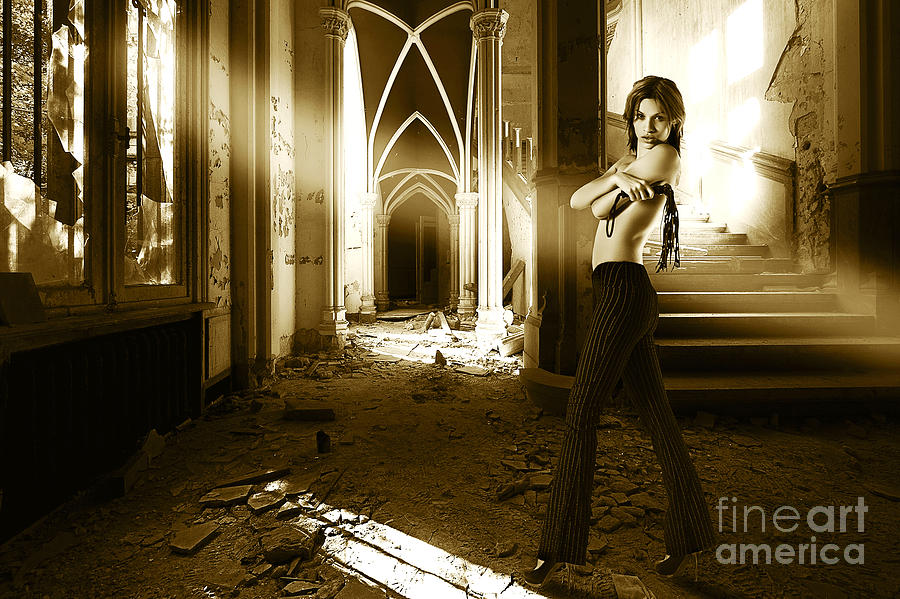 Fashion Model In Abandoned House Photograph