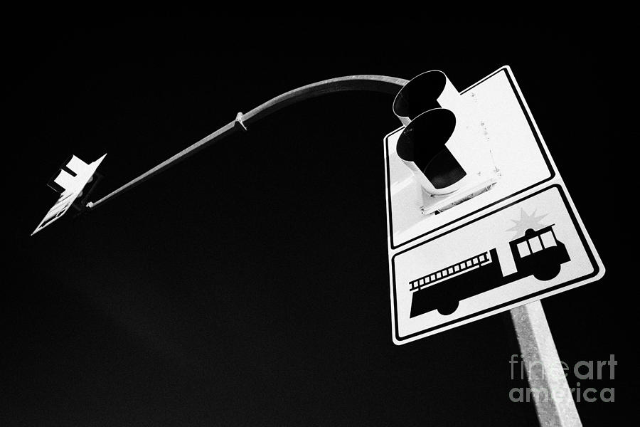 fire engine stop sign and signal Saskatoon Saskatchewan Canada Photograph