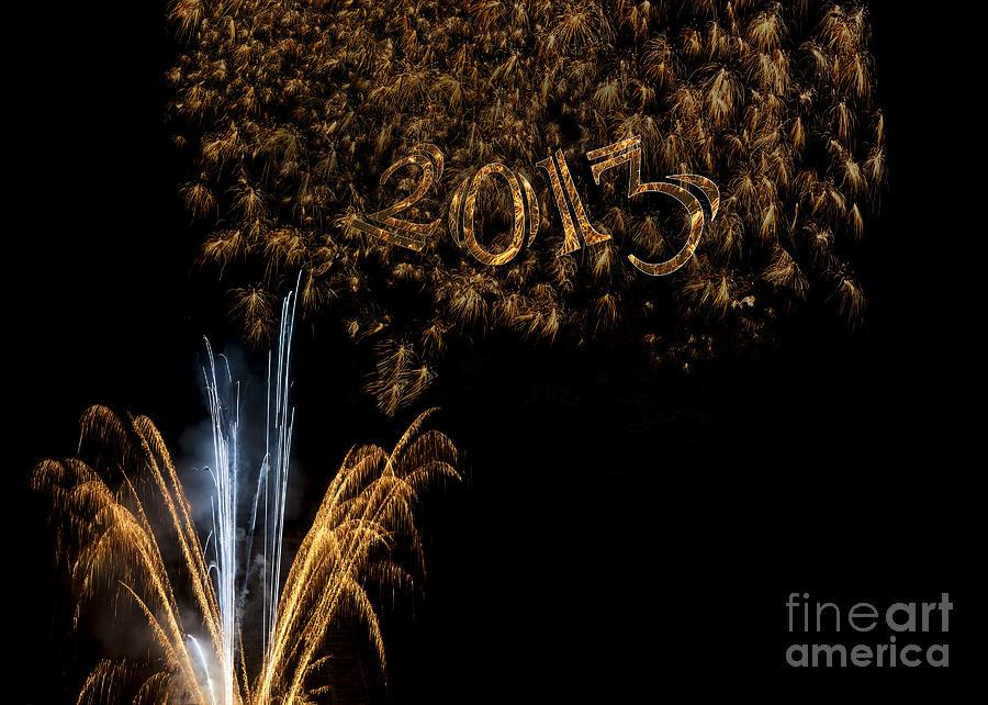 Fireworks 2013 In Elegant Gold And Black Photograph