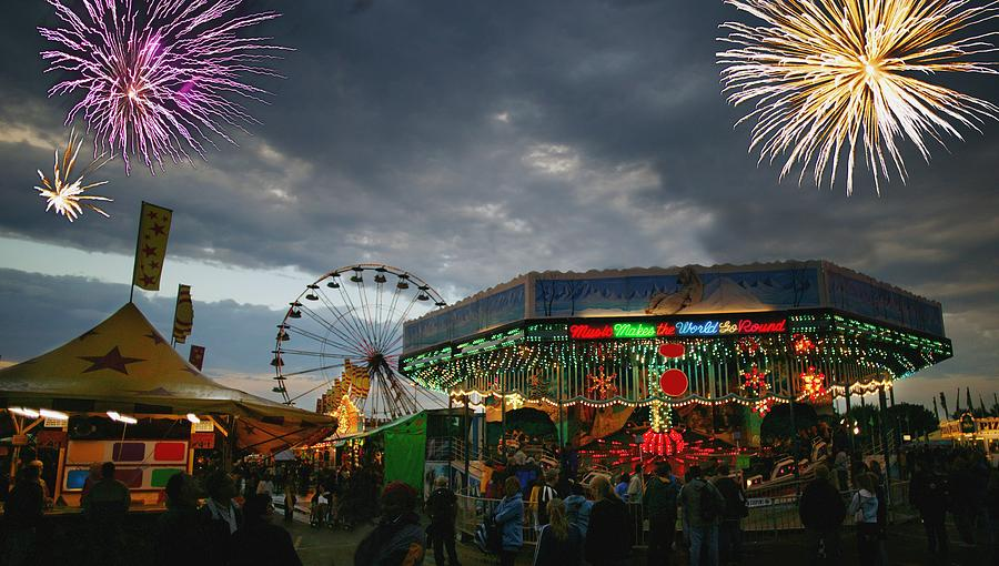 Fireworks At An Amusement Park Photograph