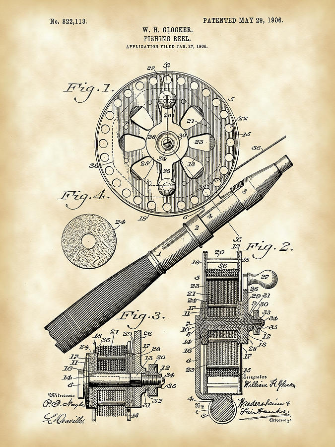 Fishing Reel Patent Digital Art  - Fishing Reel Patent Fine Art Print