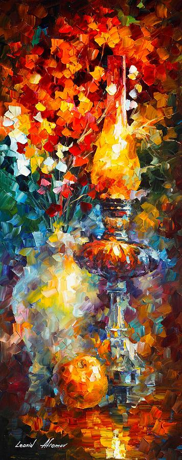 Afremov Painting Palette Knife Art Handmade Surreal Abstract Oil Landscape Original Realism Unique Special Life Color Beauty Admiring Light Reflection Piece Renown Authenticity Smooth Certificate Colorful Beauty Perspective Golden Treasure Flame Painting - Flame by Leonid Afremov