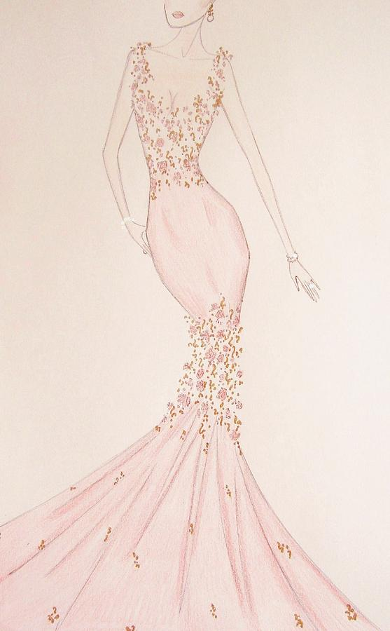 Floral Fantasy Gown  Drawing  - Floral Fantasy Gown  Fine Art Print