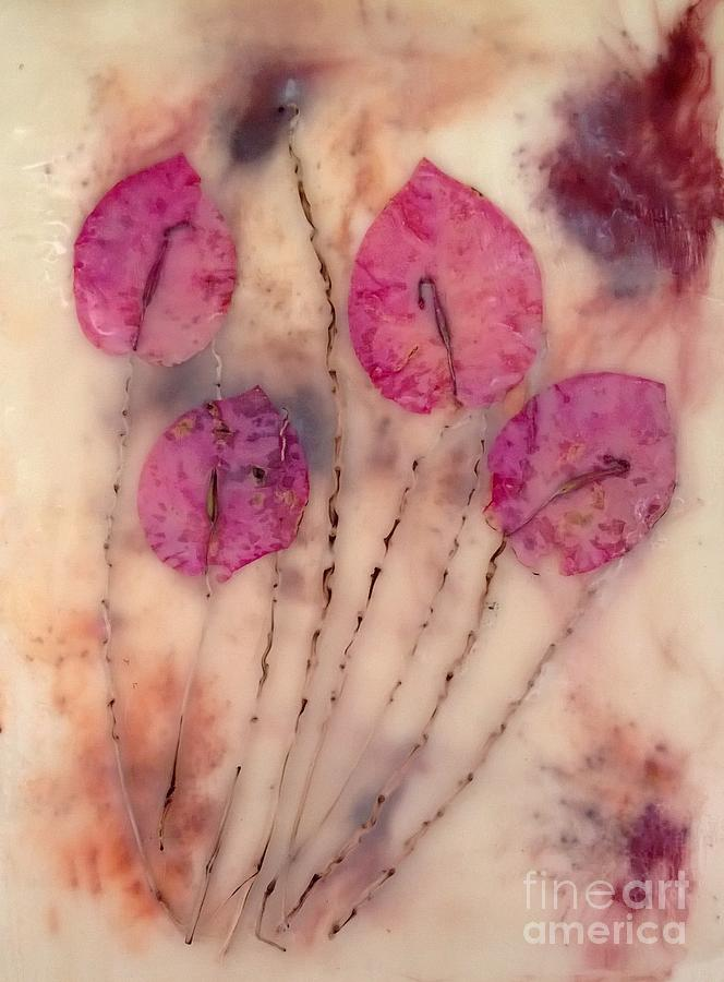 Encaustic Mixed Media - Flowers by Tami Lowry