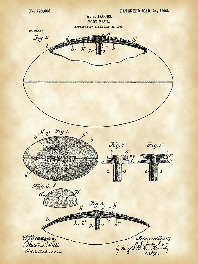 Football Patent Digital Art  - Football Patent Fine Art Print