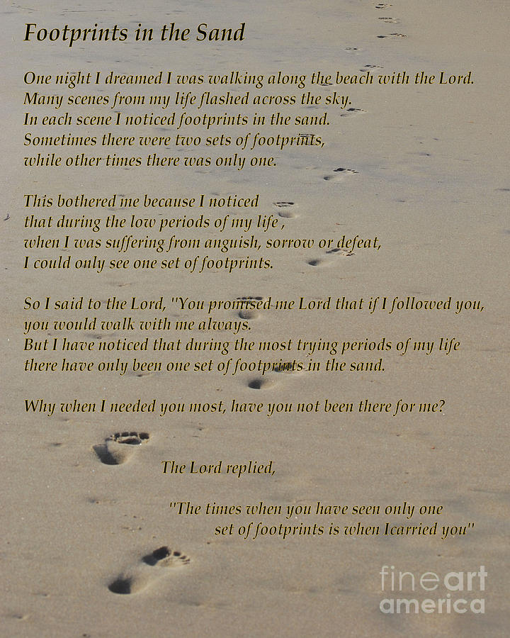 Footprints in the sand poem is a photograph by bob sample which was