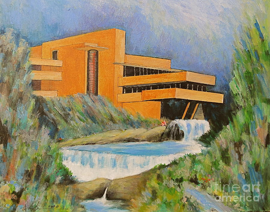 Water Art Structures : Frank lloyd wright falling water architecture painting by