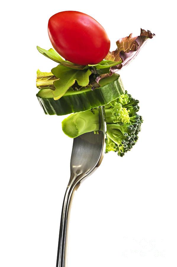 Fork Photograph - Fresh Vegetables On A Fork by Elena Elisseeva