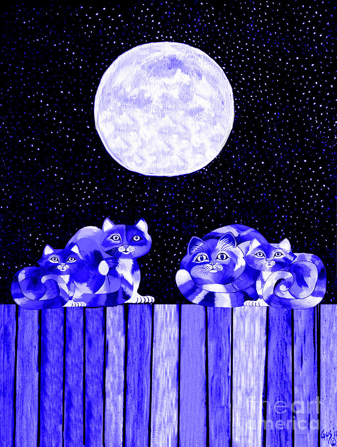 Full Moon Blues Cats Painting  - Full Moon Blues Cats Fine Art Print