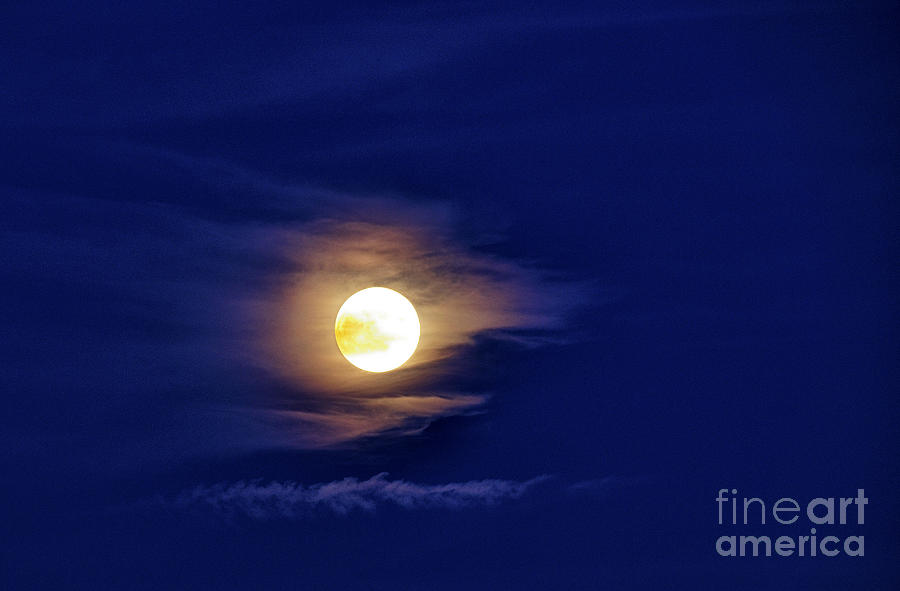 Full Moon With Clouds Photograph  - Full Moon With Clouds Fine Art Print