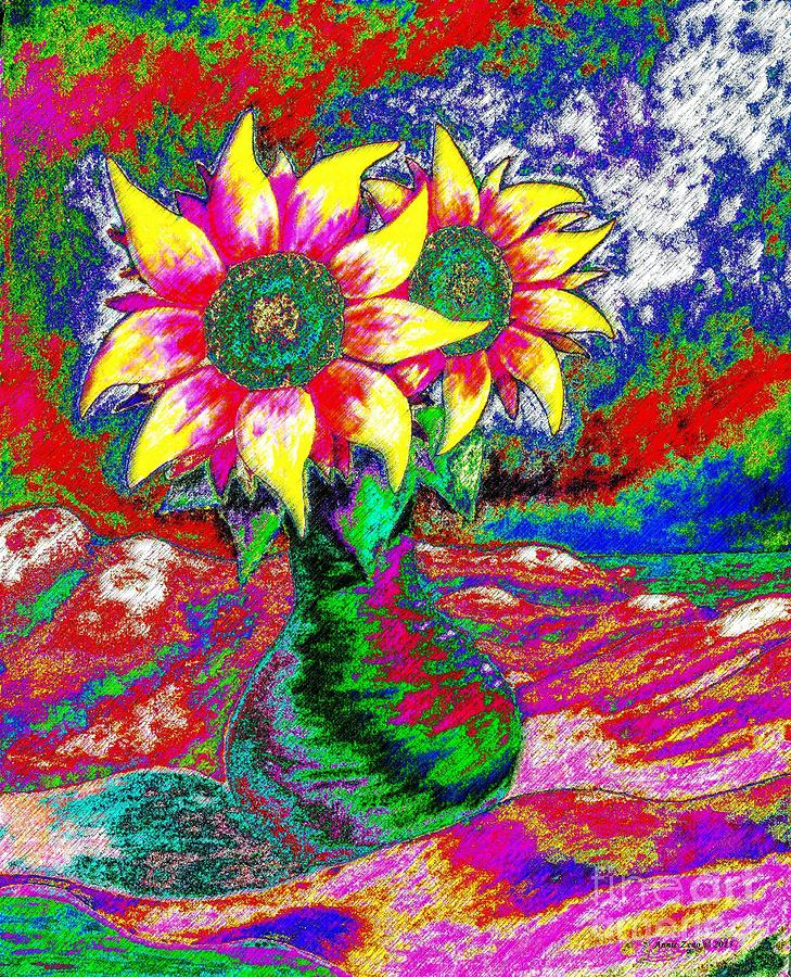 Funky Sunflowers Painting  - Funky Sunflowers Fine Art Print