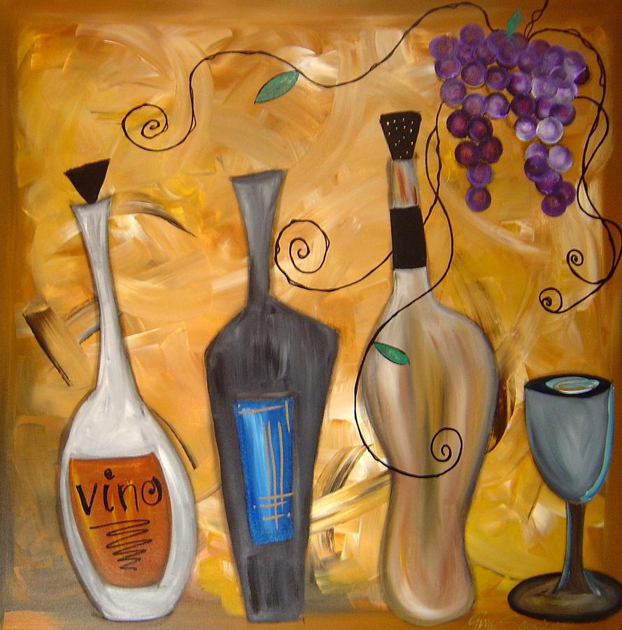 Funky wine 12 painting by gino savarino for Wine and painting mn