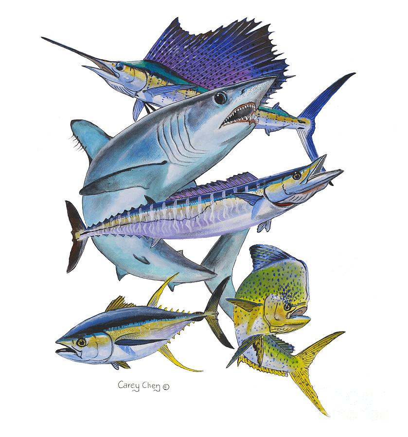 Gamefish Collage Painting  - Gamefish Collage Fine Art Print