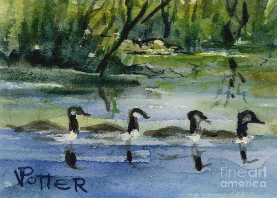 Geese In A Row Aceo Painting