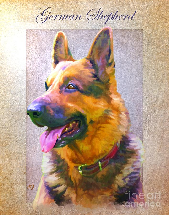 Dog Paintings Painting - German Shepherd Portrait by Iain McDonald