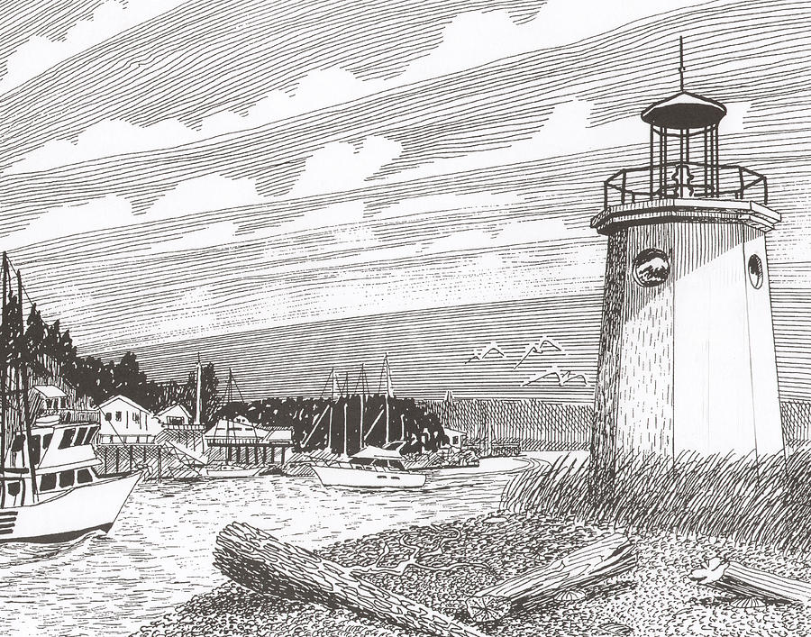 Gig Harbor Lighthouse Drawing  - Gig Harbor Lighthouse Fine Art Print