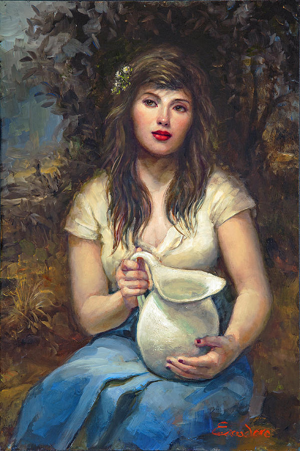 Realistic Oil Painting Of Girl Painting - Girl With Pitcher by Ron Escudero