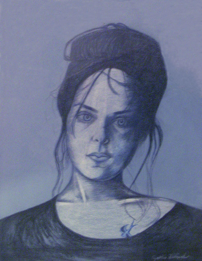 Woman With Tattoo Drawing - Girl With Tattoo by Cynthia Hilliard