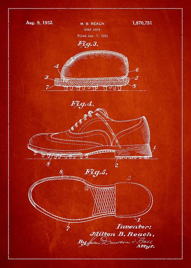 Golf Shoe Drawing - Golf Shoe Patent Drawing From 1931 by Aged Pixel