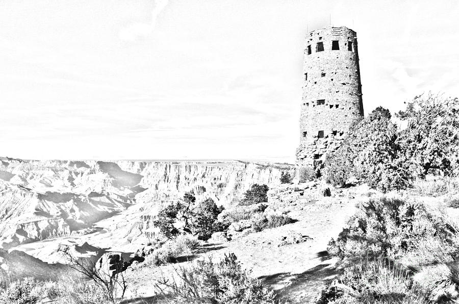 Grand Canyon National Park Mary Colter Designed Desert View Watchtower Black And White Line Art Digital Art  - Grand Canyon National Park Mary Colter Designed Desert View Watchtower Black And White Line Art Fine Art Print