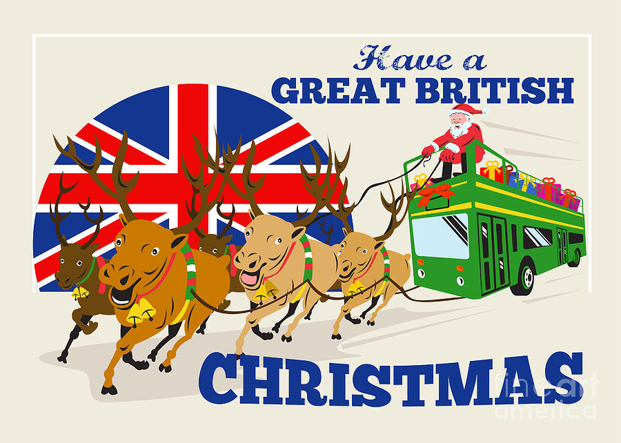 Great British Christmas Santa Reindeer Doube Decker Bus Digital Art  - Great British Christmas Santa Reindeer Doube Decker Bus Fine Art Print