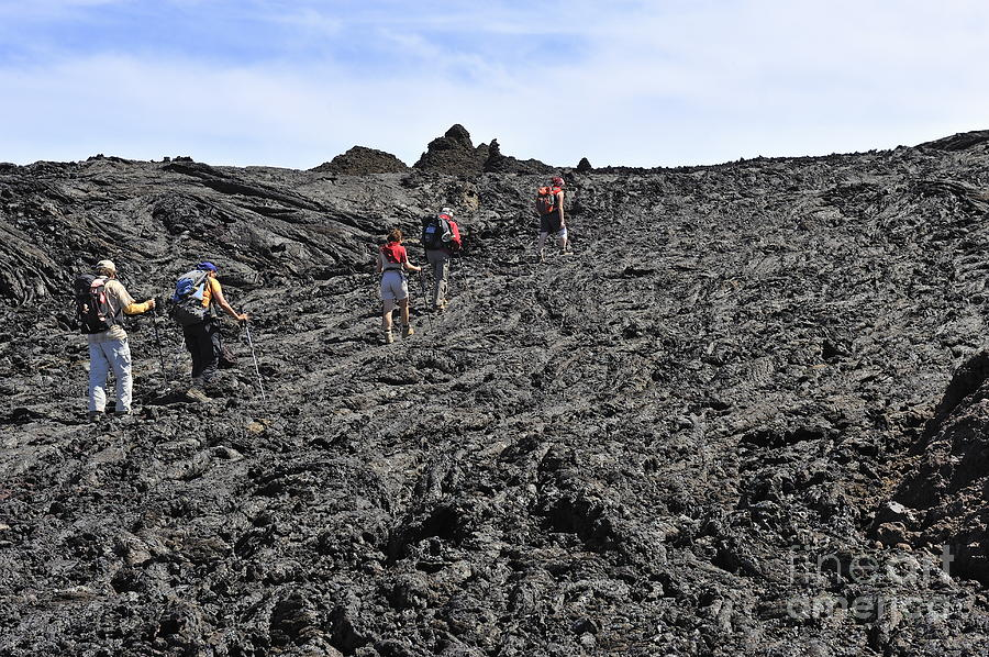 Group Of Hickers Walking On Cooled Lava Photograph  - Group Of Hickers Walking On Cooled Lava Fine Art Print