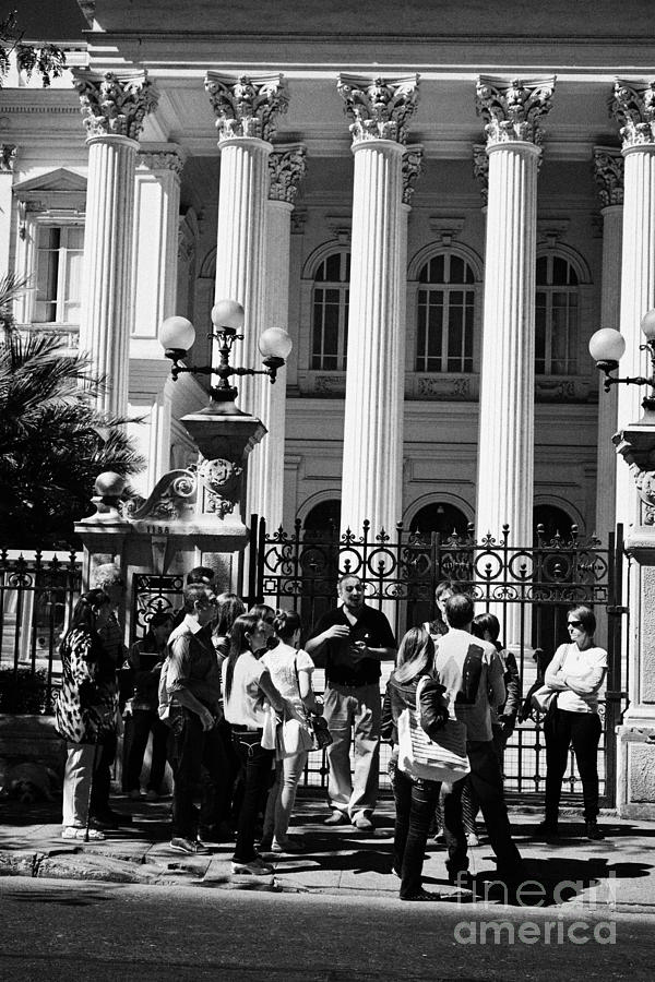 Former Photograph - guided tour group outside the former national congress building Santiago Chile by Joe Fox