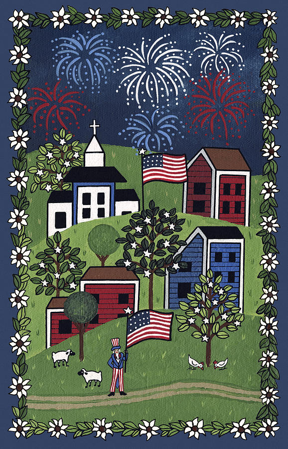 4th Of July Painting - Happy 4th Of July by Medana Gabbard