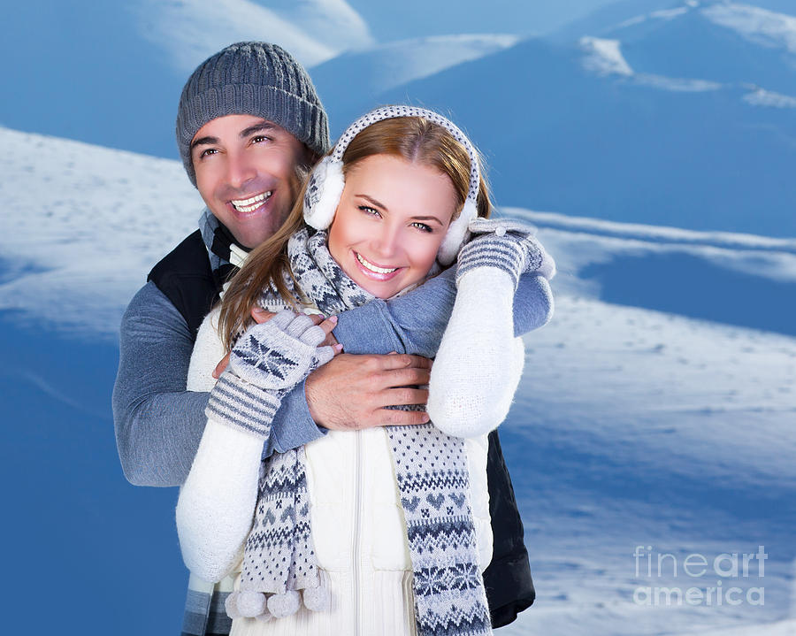 Happy Couple Playing Outdoor At Winter Mountains Photograph  - Happy Couple Playing Outdoor At Winter Mountains Fine Art Print