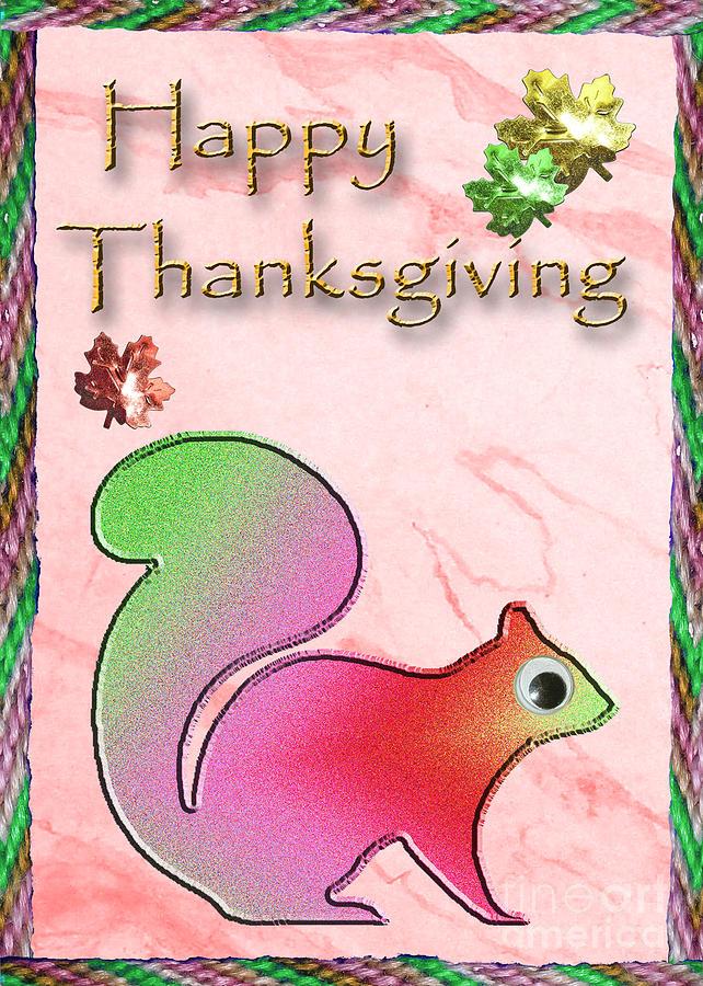 Happy Thanksgiving Squirrel Digital Art