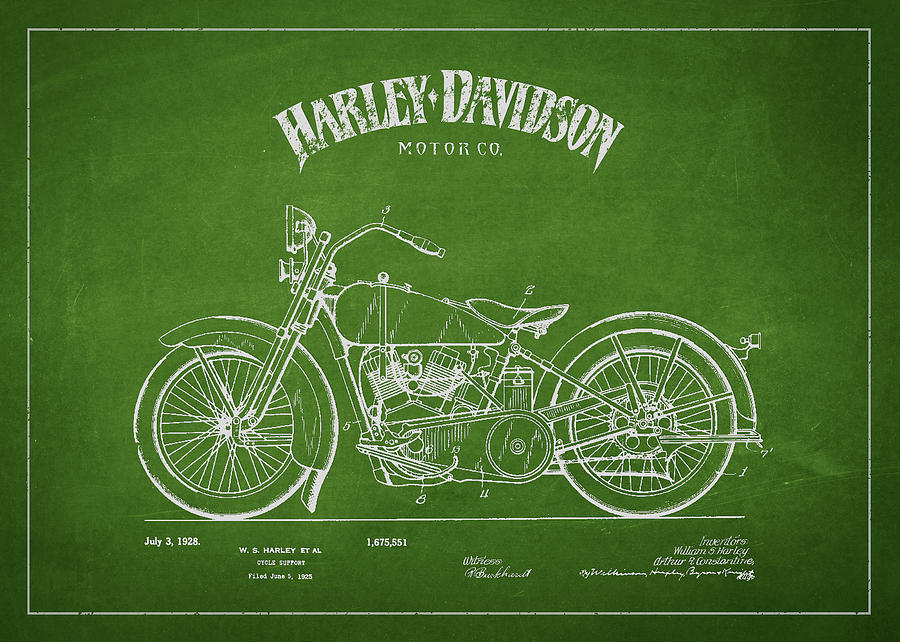 Harley Davidson Motorcycle Cycle Support Patent Drawing From 192 Drawing