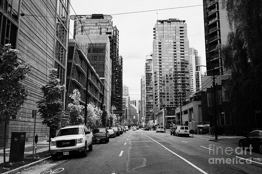 high rise apartment condo blocks in the west end west pender street Vancouver BC Canada Photograph  - high rise apartment condo blocks in the west end west pender street Vancouver BC Canada Fine Art Print